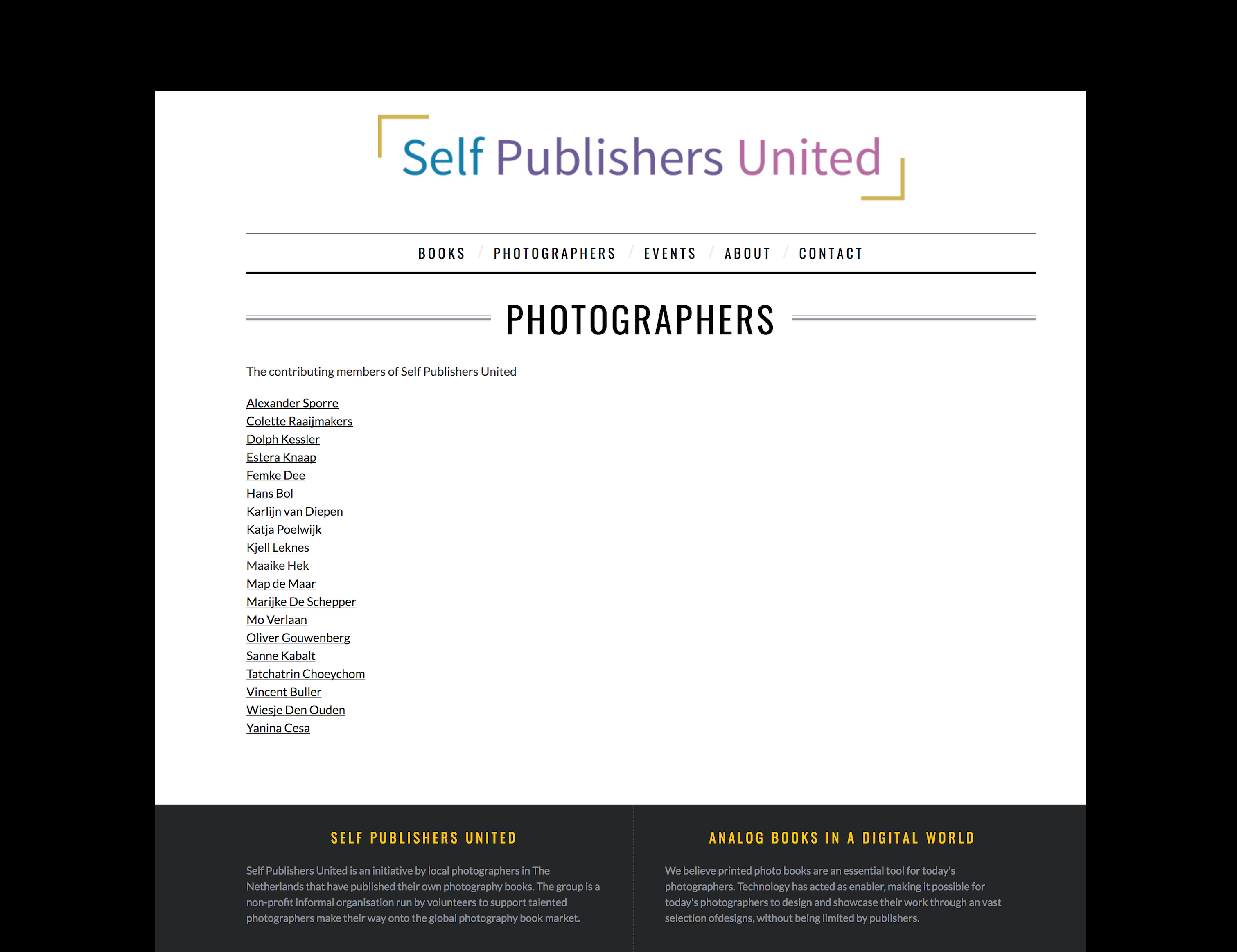 Photographers taking part in Self Publishers United